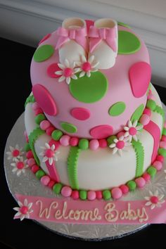 Image detail for -pink daisy girl baby shower cake by craftycakegirl pink and green ...
