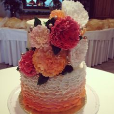Ruffle Peonies Wedding Cake