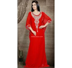 Keep Ahead In Fashion With This Red Faux Georgette Traditional Wear Kaftan