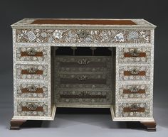 A HIGHLY IMPORTANT AND RARE ANGLO-INDIAN ENGRAVED IVORY-INLAID PADOUK WRITING AND DRESSING TABLE AND DRESSING GLASS CIRCA 1750, VIZAGAPATAM