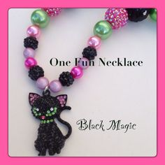 Halloween Black Cat Rhinestone Chunky Bead by OneFunNecklace, $19.95