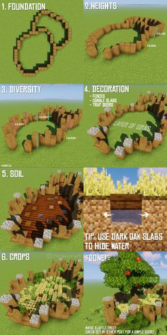 A little guide for a cool farm design! Minecraft Building Guide, Minecraft Farm, Minecraft Plans, Minecraft Medieval, Minecraft Construction, Minecraft Tutorial, Minecraft Blueprints, Minecraft Designs, Minecraft Creations
