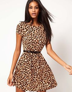 ASOS Skater Dress In Animal Print With Belt $38 @ ASOS