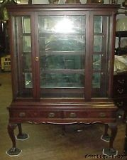 Antique Victorian Carved Mahogany Queen Anne China Display Cabinet Spanish  Foot