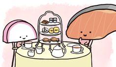 Chibi Food, Salmon Fillets, Cute Chibi, Sanrio, Charlie Brown, Hello Kitty, Best Friends, Pokemon, Kawaii