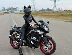 Black Leather biker with cat ear helmet