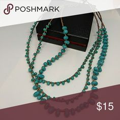 Faux Turquoise 3-strand necklace Faux turquoise 3-strand necklace with adjustable clasp Jewelry Necklaces