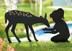 Little Girl with kite Silhouette | Details about Little Girl Feeding Fawn Deer Shadow Silhouette Metal ...