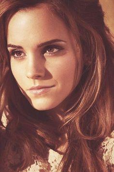 Emma Watson. Brunette, natural, nude lipstick, bronze eyes