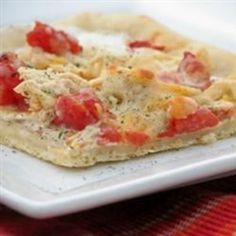"Gourmet Chicken Pizza | ""Awesome good! Great departure from traditional pizza toppings and sauce."""
