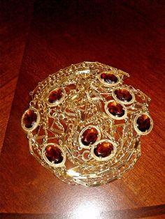 vintage sautoir necklace topaz glass bezel set open back multi chain XL length  #Chain