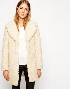 $180, Beige Fur Coat: Warehouse Faux Fur Coat Cream. Sold by Asos. Click for more info: https://lookastic.com/women/shop_items/140205/redirect