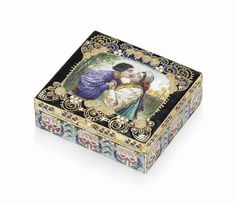 A silver-gilt cloisonné and en plein enamel box Marked K. Fabergé with the imperial warrant, Moscow, 1908-1917, scratched inventory number possibly 45430