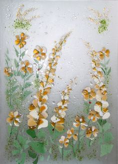 Fused glass cabinet panels & a great example of flowers to try doing