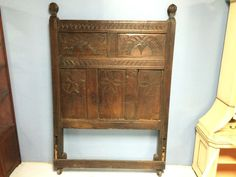 Antique 18th Century English Oak Bed Headboard and Footboard from Actor Cliff Robertson Estate