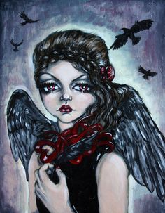 Dark Angel, ORIGINAL acrylic painting by AngelaRichardsonArt on Etsy