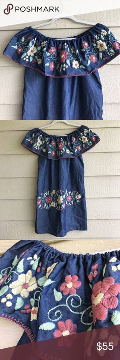 Handmade Embroidered Dress Floral Spring Eastern Beautiful unique One-of-a-Kind Hand-Stitched Mexican Dress! Off Shoulder style! Perfect for spring and summer! Denim like fabric is very lightweight and fresh. Earth tones floral embroidery 100% made by hand. Cielito Lindo  Dresses Mini