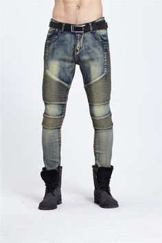 Men`s Skinny Slim Denim Washed Hip Hop Jeans Vintage Ripped Biker Classic Slim Pants Relaxed Fit Bootcut Jeans Mens
