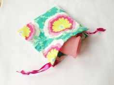 Menstrual Cup Cotton Carry Bag on Etsy, Menstrual Pads, Cloth Pads, Carry Bag, Sunglasses Case, Ribbon, Cotton, Bags, Accessories, Etsy