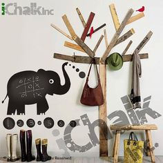 Elephant Chalkboard Sticker Wall Decal for Home or by iChalkInc