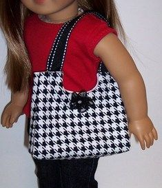 """Houndstooth Collection-Purse for 18"""" Dolls"""