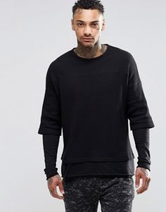 ASOS Waffle Long Sleeve T-Shirt With Double Layer