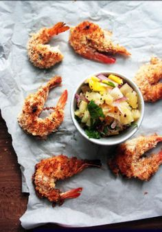 Baked coconut prawns with pineapple mango salsa