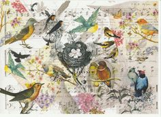 Rice Paper for Decoupage Decopatch Scrapbook Craft Sheet Vintage Birds and Nest | eBay