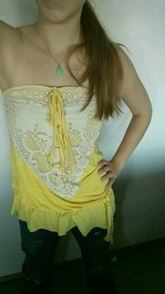 Adorable Yellow Lace Tube Top or Halter on Vinted. Just $6, Like New