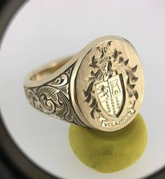 Mens Signet Ring Custom Gold Signet Ring Coat Of Arms Signet Ring Family Crest Monogram Signet Unique Mens Rings, Rings For Men, Mens Gemstone Rings, 14 Carat, Signet Ring, Ring Ring, Family Crest, Hand Engraving, Coat Of Arms
