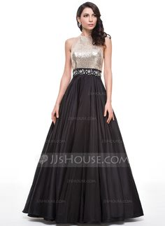 Ball-Gown Scoop Neck Floor-Length Beading Zipper Up Regular Straps Sleeveless No Black Winter Spring Summer Fall General Plus Taffeta Sequined Prom Dress
