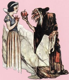 """""""Snow White and the Seven Dwarfs"""" 1937 Disney illustration concept art by Gustaf Tenggren of Snow White & the evil queen/old hag with poisoned apple"""