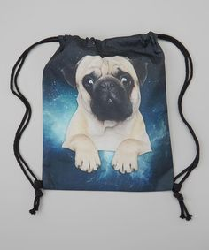 Look at this Kitschy Cute Blue Pug Dog Drawstring Backpack on #zulily today!