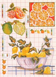 Citrus pattern / chart for cross stitch, alpha pattern, crochet, knitting, knotting, beading, weaving, pixel art, and other crafting projects.