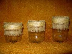 Base (suporte) em garrafa pet para cuia de chimarão ,revestidas com barbante de sizal bio.