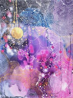 A beautiful original abstract painting called The Moon and The Stars by Helen Wells. It depicts a ri Paintings For Sale, Original Paintings, Art Paintings, Colorful Paintings, Abstract Watercolor, Abstract Art, Night Sky Painting, Image Deco, Rise Art