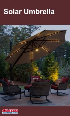 This stunning offset umbrella by Seasons Sentry sets the mood from sunrise to sunset. With only the flip of a switch and no messy cords, pre-installed solar charged LED lights complement any outdoor chat or dining area. Weather resistant Sunbrella® canopy can be rotated 360 degrees, offering ultimate protection. With the ease of a glide handle, effortlessly angle the canopy up to 70 degrees of tilt for a more precise area of shade coverage for you and your guests.