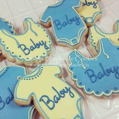 Unisex baby shower cookies in yellow and blue. Welcome baby!  #sweethandmadecookies #customcookies #decoratedcookies #designercookies #cookies #bradfordontariocookies #babyshowercookies #babyshower #unisexbabyshower