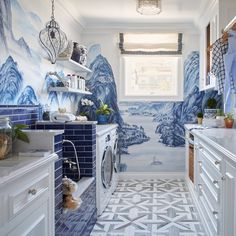 A whimsical laundry room which features wallpaper that nods to mountains of Far East. While a featured doggy wash is abandoned in blue with an elegant final Faucet. Living Room Designs, Living Room Decor, Living Spaces, Tropical Beach Houses, Luxury Rooms, Asian Design, Interior Decorating, Interior Design, Sweet Home