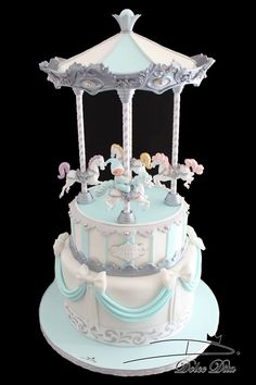 April Showers Bring May Flowers Themed Birthday Cakes, Birthday Parties, Beautiful Cakes, Amazing Cakes, Carousel Cake, Carousel Horses, Carrousel, Marshmallow Fondant, Holiday Cakes