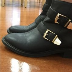Black Booties Wanted black ankle booties with gold buckle, EUC only worn a couple times Wanted Shoes Ankle Boots & Booties