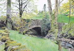 """Art Print: """"Moss bank"""" -A4 landscape print, wall art, country scene, country bridge, Yorkshire, green art from a painting by Dave Marsh"""