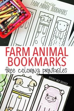 Free printable farm animal bookmarks for kids to color! These farm coloring pages are perfect for a preschool farm theme or just for fun. Decorate these cute bookmarks and be sure to check out our new favorite Farm book for preschoolers too! Farm Activities, Craft Activities For Kids, Projects For Kids, Animal Activities, Spring Activities, Indoor Activities, Preschool Books, Free Preschool, Preschool Farm
