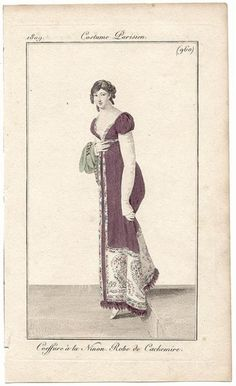 Journal des Dames et des Modes, 1809. Look at that color. How gorgeous. And I love her long sleeves!