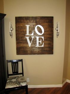 DIY wood love sign. Love this for my kitchen!