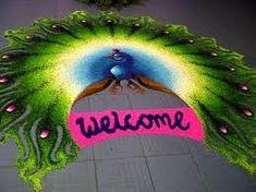 Latest peacock rangoli kolam designs without dots - Mom - Bharat Moms Indian Rangoli Designs, Rangoli Designs Images, Best Mehndi Designs, Diwali Decorations, Flower Decorations, Welcome Rangoli, Peacock Rangoli, Diwali Craft, Naming Ceremony