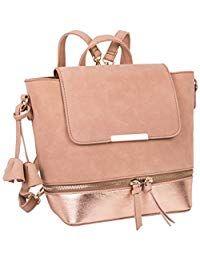 ed1c83b3ac87c SIX Trend Damen Handtasche Kleiner Rücksack in Wildleder Optik und Metallic  Details (726-191
