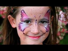 ▶ Rosa Schmetterling schminken / Schmetterling Kinderschminken Vorlage / Video Anleitung - YouTube
