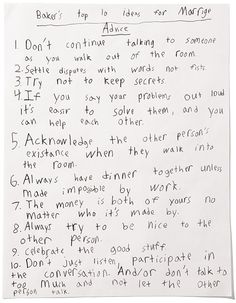 Marriage Words of Wisdom -- by a fourth grade student. So smart!