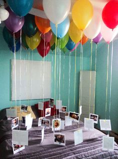 Attach photos to balloons for an eye catching display.  See more 80th birthday party suggestions at one-stop-party-ideas.com.